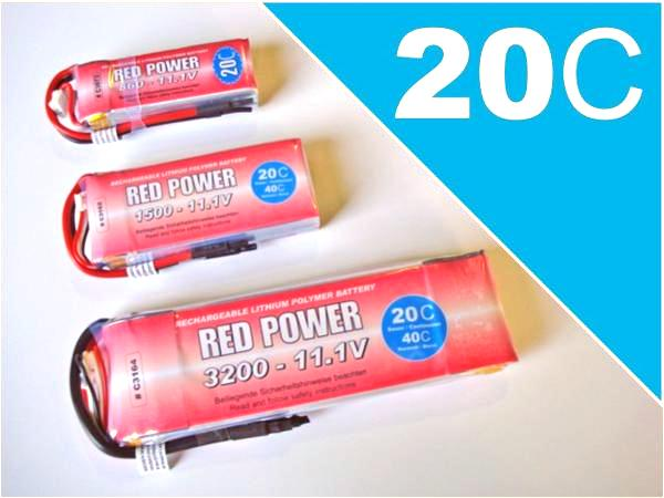RED POWER 1600 * 2S1P 7,4V 1600mAh * 20/40C Lipo Akku
